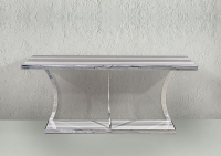 Stone International Aurora Steel Marble Console Table with Polished Stainless Steel Base