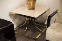 Stone International Aurora Steel Marble Lamp Table with Blond Metal Base