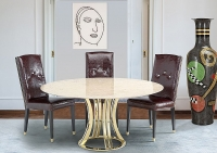 Stone International Aurora Steel Marble Round Dining Table with Blond Metal Base