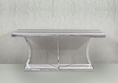 Stone International Aurora Console Table - Marble and Polished Stainless Steel