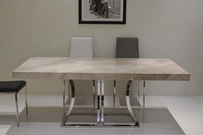 Stone International Aurora Dining Table - Marble and Polished Stainless Steel
