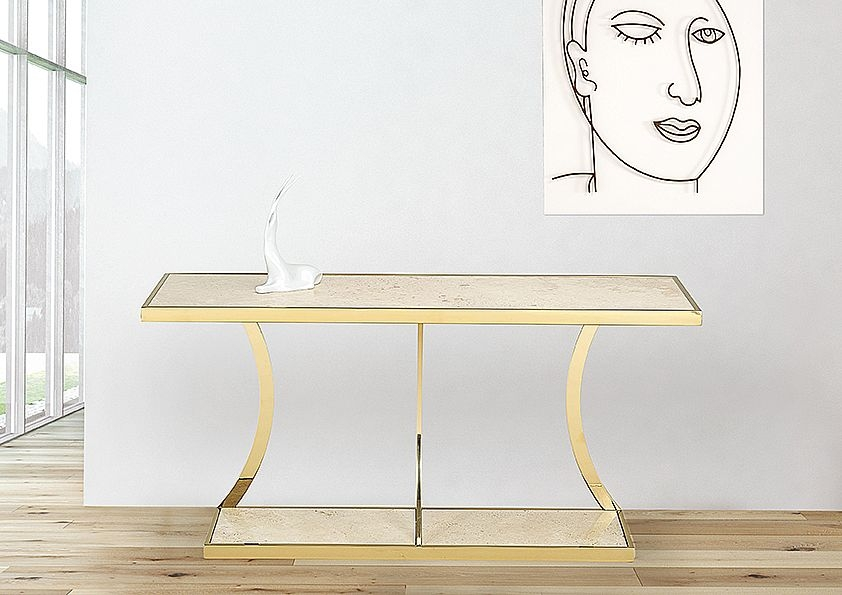 Stone International Aurora Console Table - Marble and Blond Metal