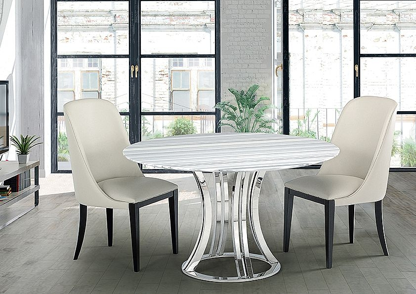 Stone International Aurora Round Dining Table - Marble and Polished Stainless Steel
