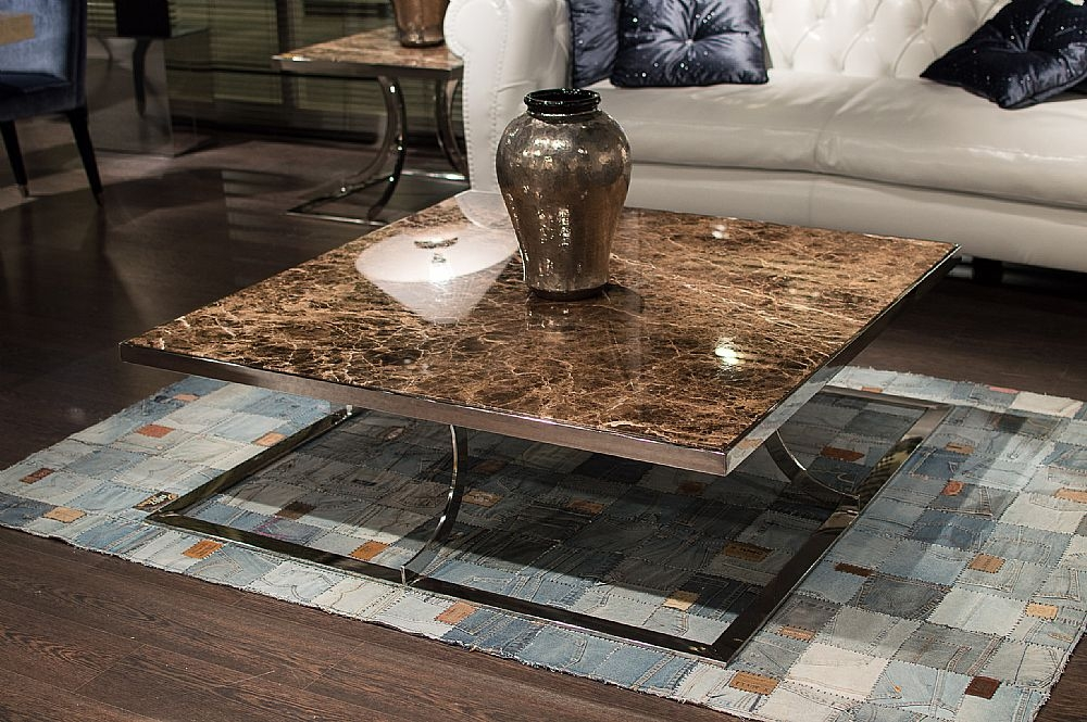 Stone International Aurora Square Coffee Table - Marble and Polished Stainless Steel