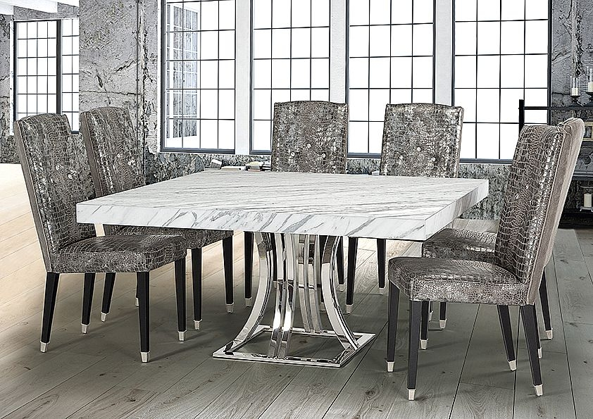 Stone International Aurora Square Dining Table - Marble and Polished Stainless Steel