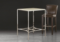 Stone International Marble Square Pub Table with Polished Stainless Steel Base