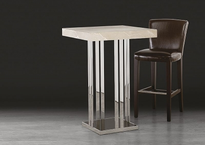 Stone International Elba Marble Square Pub Table - Black Glass and Polished Stainless Steel