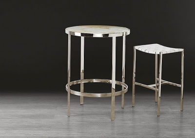 Stone International Round Pub Table - Marble and Polished Stainless Steel