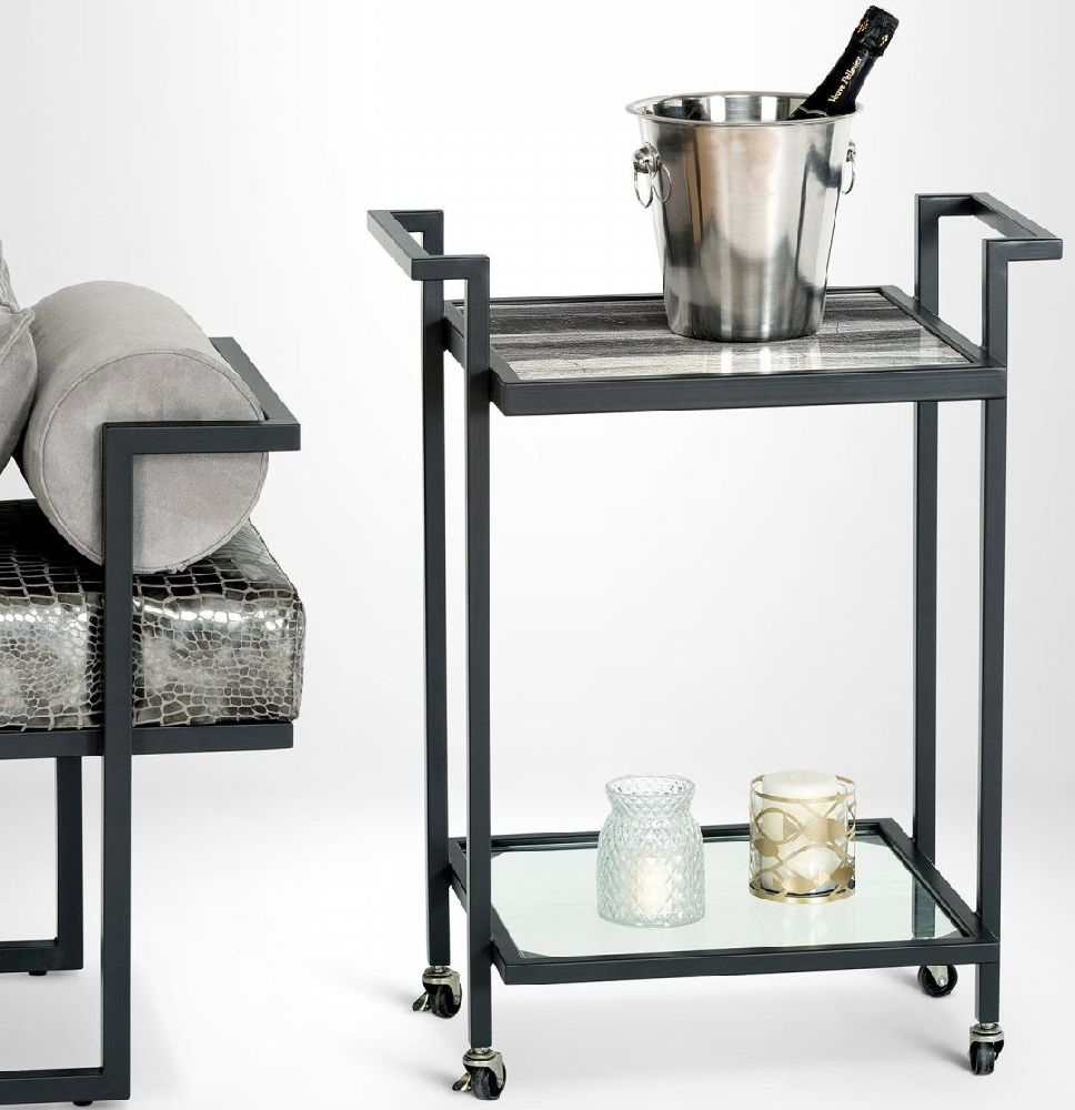 Stone International Billy Marble Bar Trolley with Metal Base