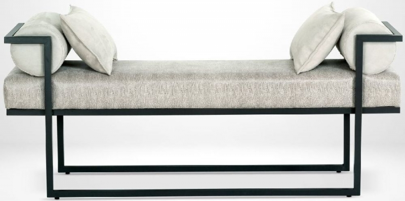 Stone International Billy Leather Bench with Metal Base