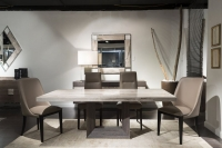Stone International Blade Light Dining Table - Marble and Polished Stainless Steel