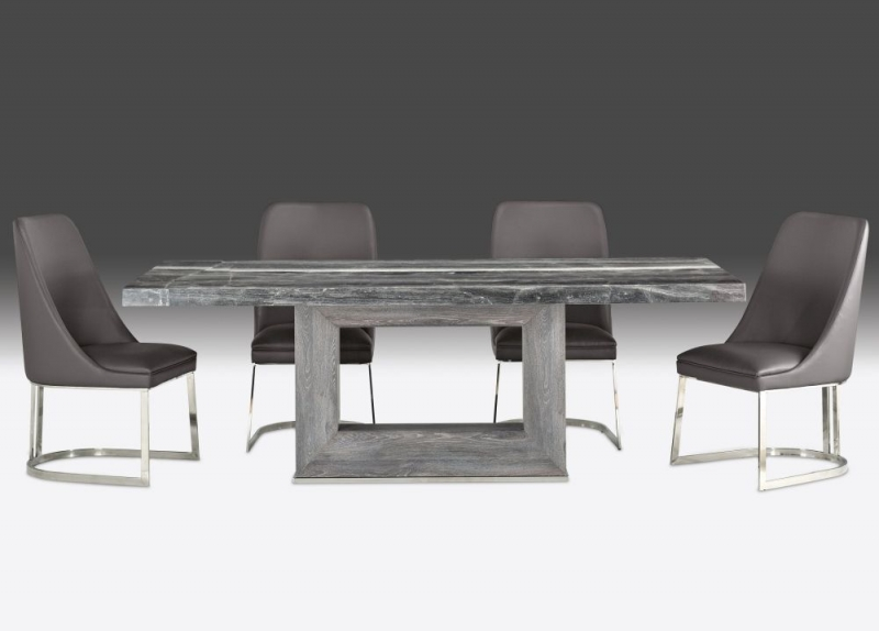 Stone International Blade Dining Table - Marble and Polished Stainless Steel