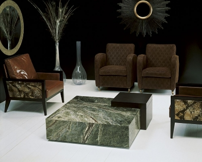 Stone International Box Coffee Table - Marble and Wenge Wood