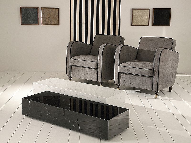 Stone International Box Marble Coffee Table on Casters