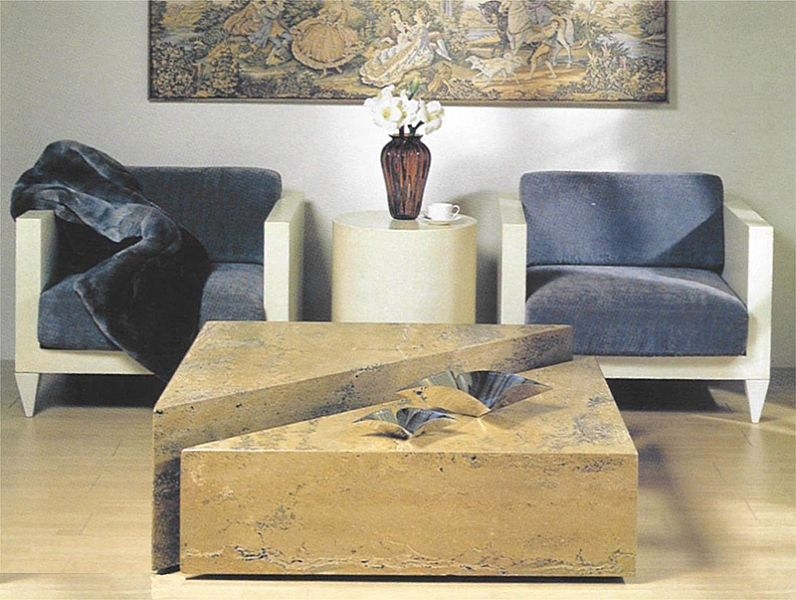 Stone International Box Marble Hi-Lo Coffee Table on Casters
