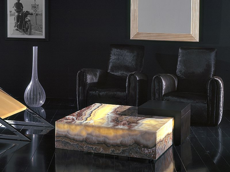 Stone International Box Wenge Wood and Marble Coffee Table with Light