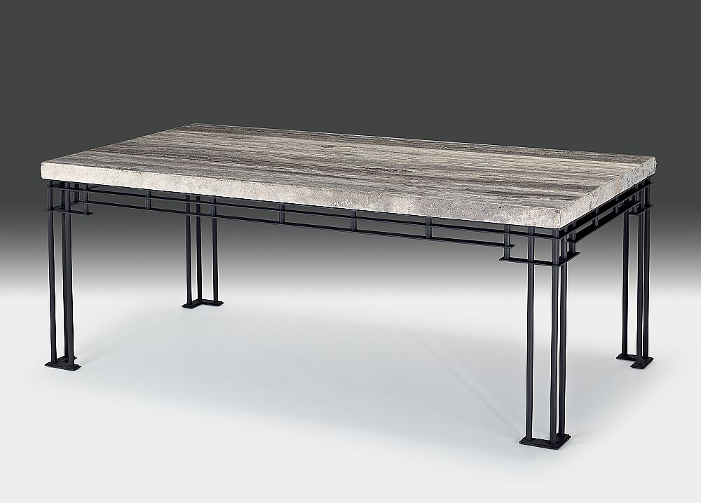 Stone International Brooklyn Dining Table - Marble and Dark Grey Metal