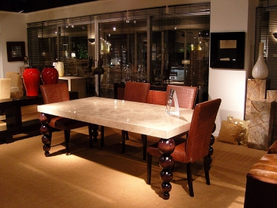 Stone International Bubble Marble Dining Table with Antique Brown Legs