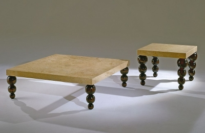 Stone International Bubble Marble Occasional Table with Antique Brown Legs