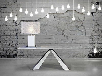 Stone International Butterfly Occasional Table - Marble and Polished Stainless Steel