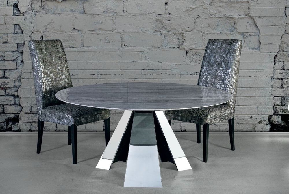 Stone International Butterfly Round Dining Table - Marble and Polished Stainless Steel