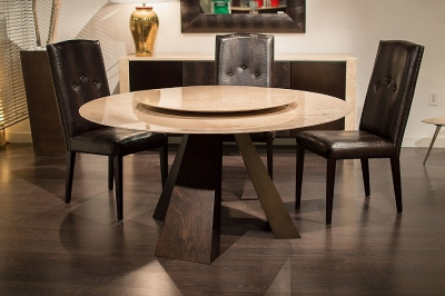 Stone International Butterfly Round Dining Table - Marble and Wenge Wood