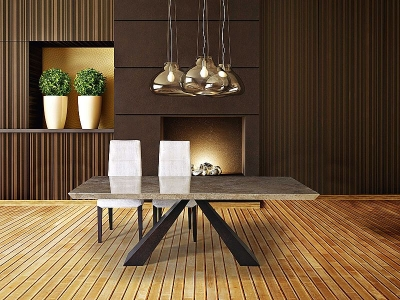 Stone International Butterfly Dining Table - Marble and Wenge Wood