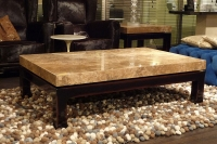 Stone International Cadi Marble Rectangular Coffee Table with Lacquered Antique Brown Base