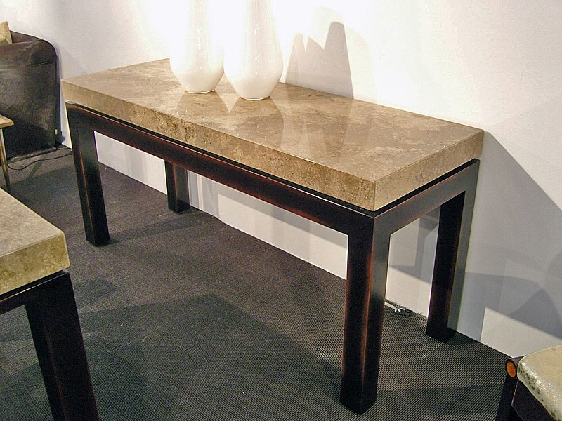 Stone International Cadi Marble Console Table with Lacquered Antique Brown Base