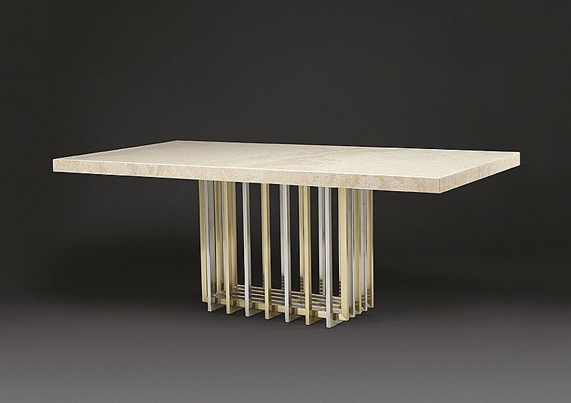 Stone International Cage Marble Rectangular Dining Table with Satin Brass Base