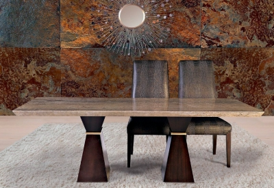 Stone International Clepsy Plus Beveled Edge Marble with Polished Brass Double Pedestal Dining Table