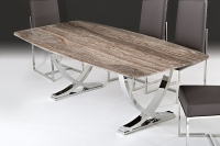 Stone International Deco Boxed Edge Marble Rectangular Dining Table with Polished Stainless Steel Base