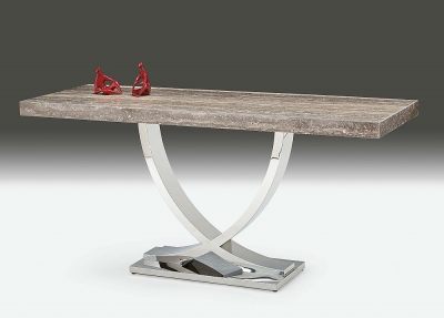 Stone International Deco Tavolo Console Table - Marble and Polished Stainless Steel