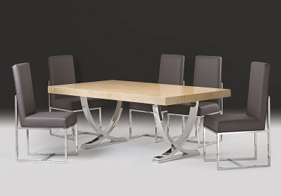 Stone International Deco Dining Table - Marble and Polished Stainless Steel