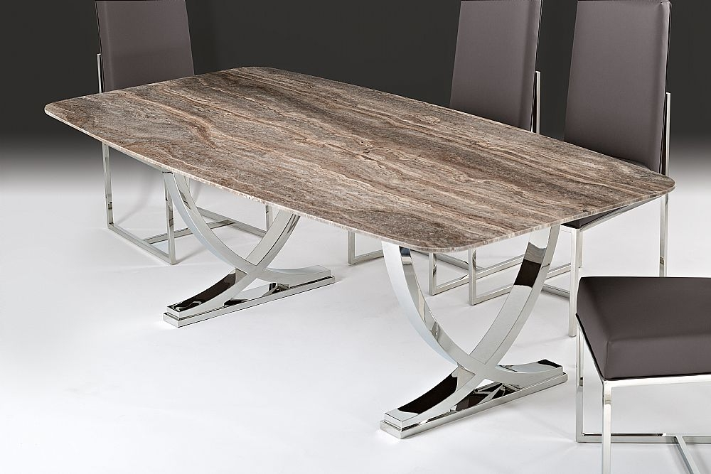 Stone International Deco Rounded Top Dining Table - Marble and Polished Stainless Steel
