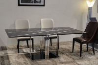 Stone International Elba Knife Edge Black Marble Rectangular Dining Table with Stainless Steel Base