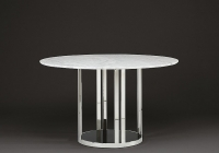 Stone International Elba Slim Edge Marble with Black Glass Insert Round Dining Table with Stainless Steel Base