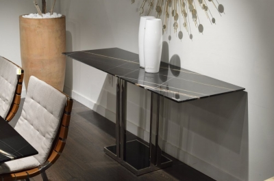 Stone International Elba Marble Occasional Table - Black Glass and Metal