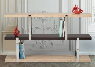 Stone International Elba Marble and Metal Bookcase