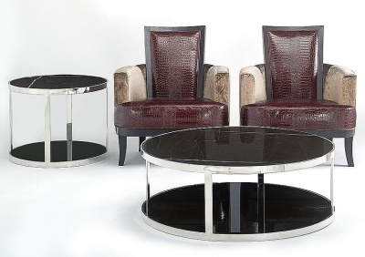 Stone International Elba Marble Round Coffee Table - Black Glass and Metal
