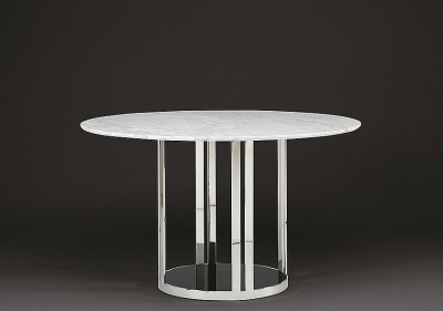 Stone International Elba Marble Round Dining Table - Black Glass and Polished Stainless Steel