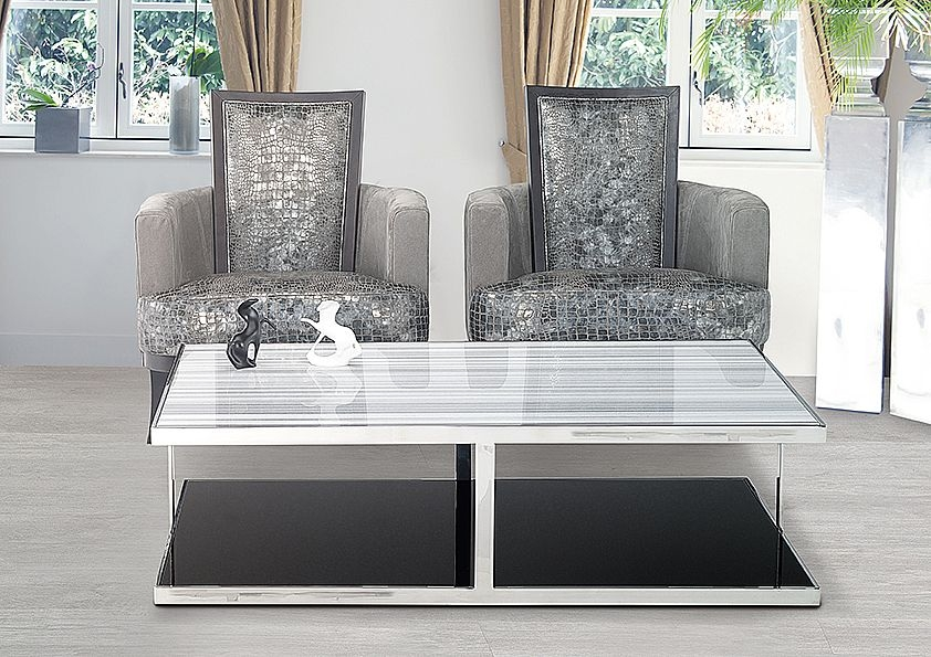 Stone International Elba Marble Occasional Table - Black Glass and Stainless Steel