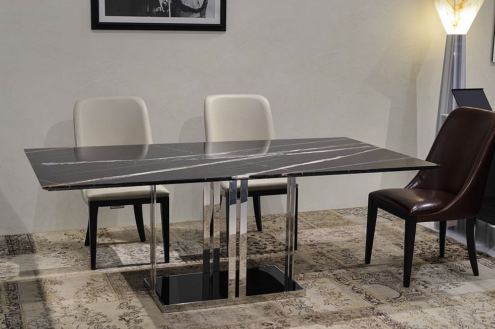 Stone International Elba Marble Dining Table - Black Glass and Stainless Steel