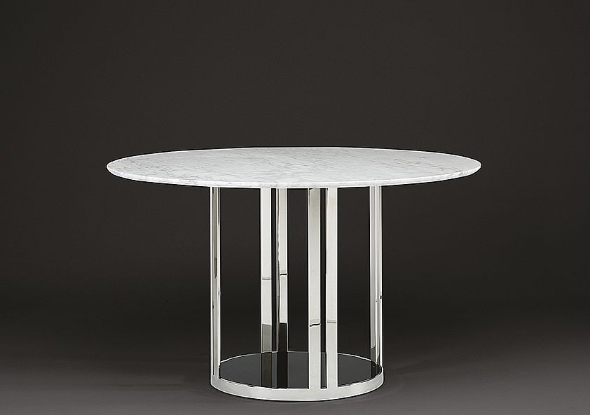Stone International Elba Marble Round Dining Table - Black Glass and Stainless Steel