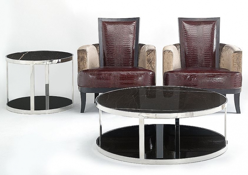 Stone International Elba Black Marble Round Coffee Table with Blond Metal Base
