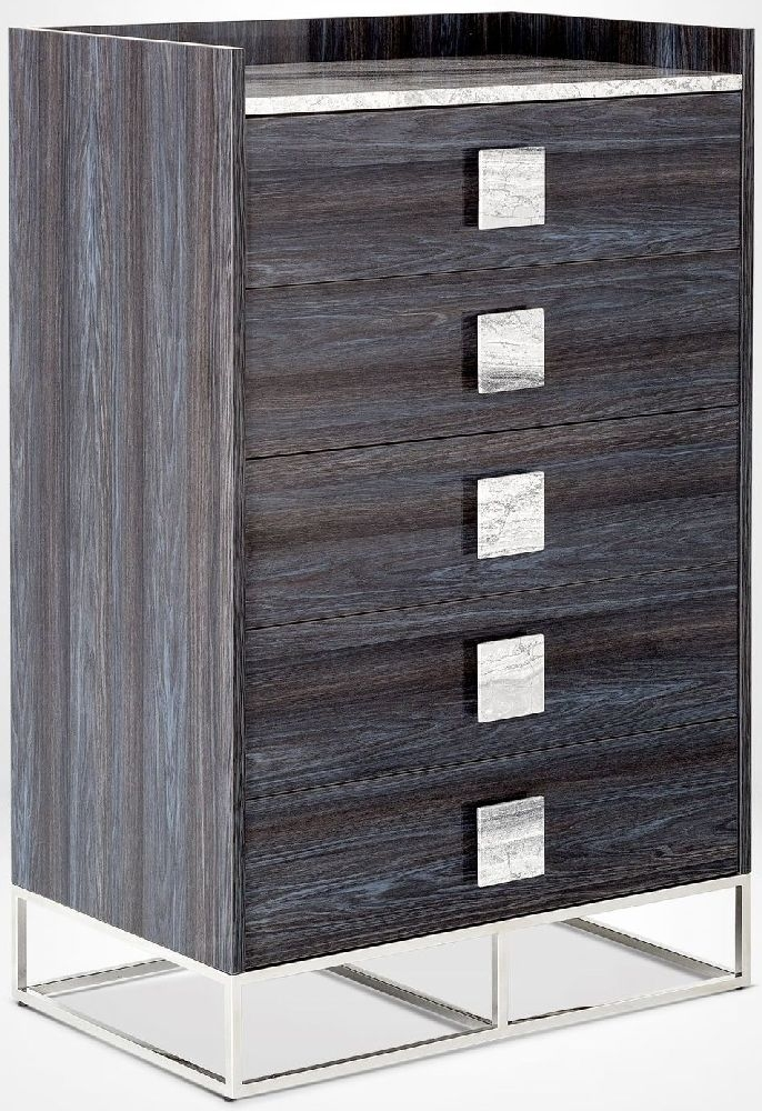 Stone International Elliot Marble and Polished Steel 5 Drawer Chest