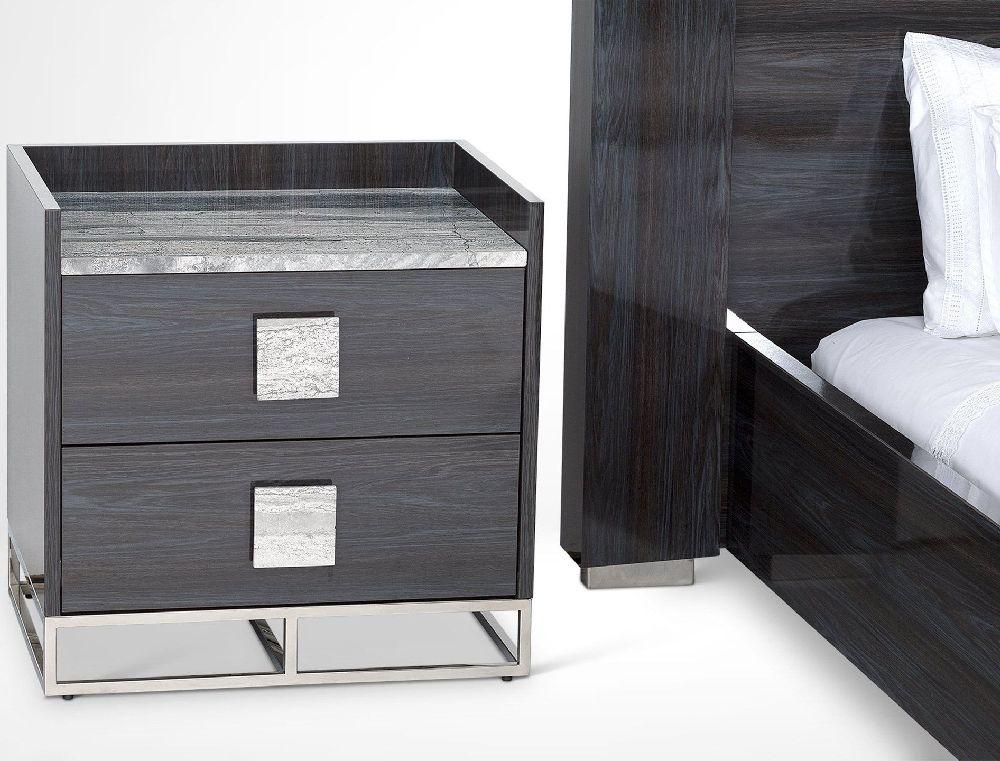 Stone International Elliot Marble and Polished Steel Nightstand