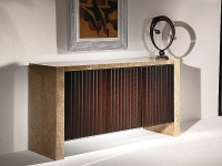 Stone International Espresso Buffet - Marble and Grooved Wood