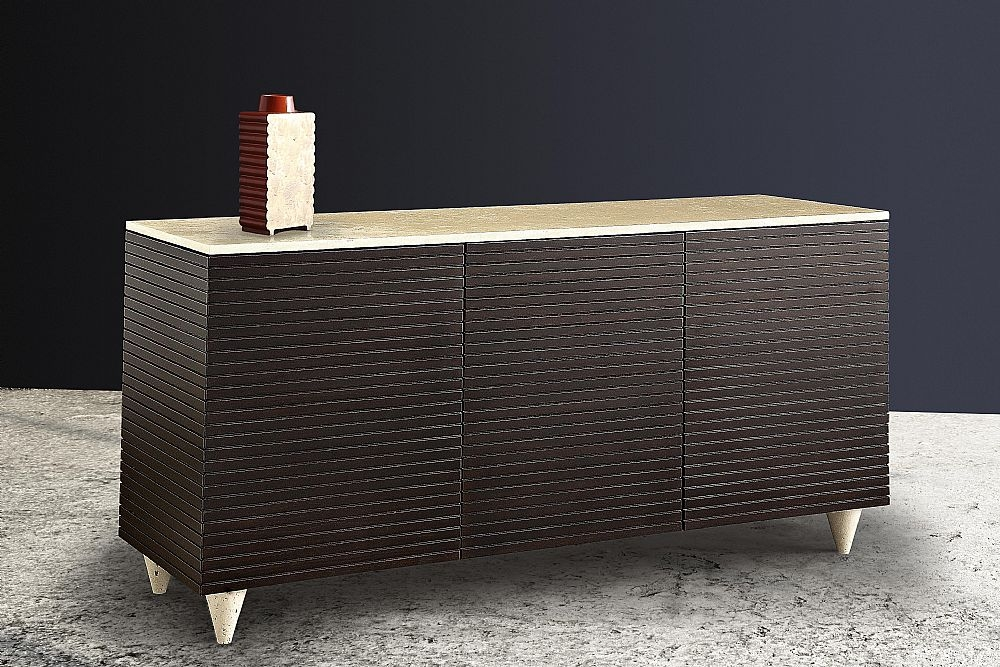 Stone International Espresso Buffet - Marble and Slatted Wood