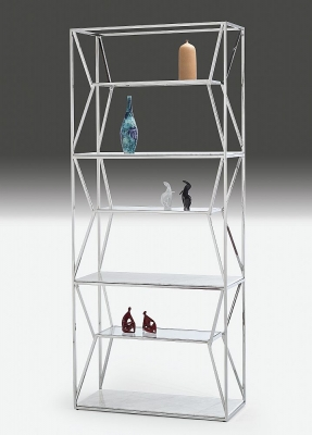 Stone International Ginza Etagere Marble and Glass Shelving Unit with Polished Stainless Steel